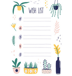 botanical wish list flat vector image