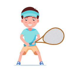 boy tennis player standing with a racket vector image