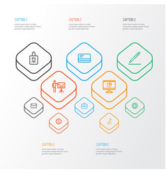 business icons line style set with payment vector image