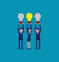 business team holding idea light bulbs above his vector image
