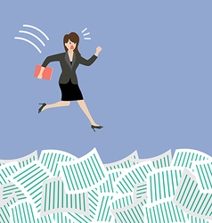 Business woman jump into a lot of documents vector image