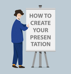 Businessman and presentation screen board cartoon vector