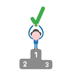 businessman character holding up check mark on vector image