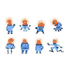 Cartoon alien cosmonauts space astronauts funny vector