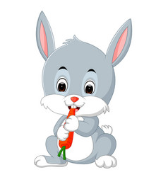cartoon happy rabbit eating carrot vector image