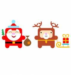 cartoon Santa and deer vector image
