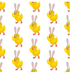 chicken with bunny ears seamless pattern vector image