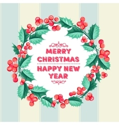 Christmas mistletoe holiday card vector