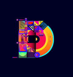 Colorful alphabet font letter d for logo vector