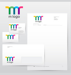 colorful transparent m logo and identity vector image