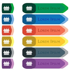 Conference icon sign Set of colorful bright long vector image