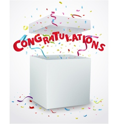 Congratulations message box with confetti vector image