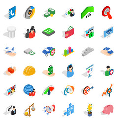 Creative company icons set isometric style vector