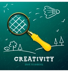 Creativity learning racket made with magnifying vector