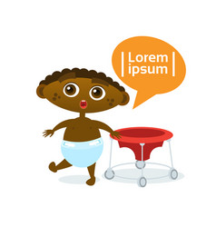cute baby boy african american toddler happy vector image