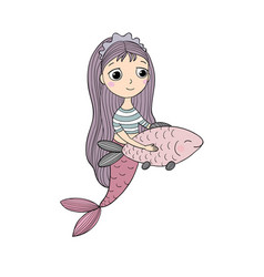 Cute cartoon mermaid and fish siren sea theme vector