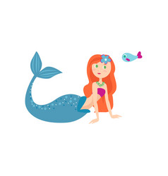 cute long red hair mermaid and long blue tail vector image