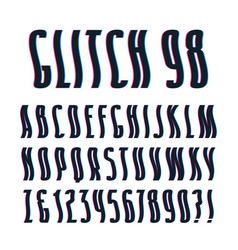 Decorative sanserif font with glitch wavy effect vector