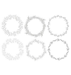 doodle hand drawn natural autumn wreath collection vector image