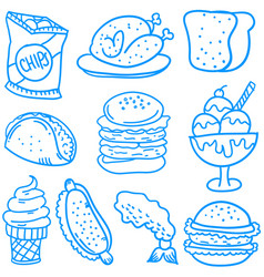 Doodle of food and drink style collection vector