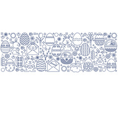 easter elements arranged in strip linear vector image