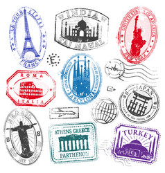 Famous monument travel stamps set1 vector