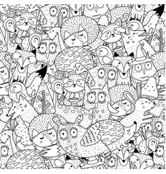 fantasy forest animals seamless pattern vector image