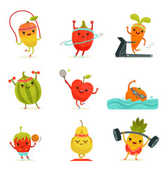 Funny fruits make fitness exercises vector