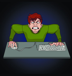 Furious gamer with a keyboard and mouse sitting at vector