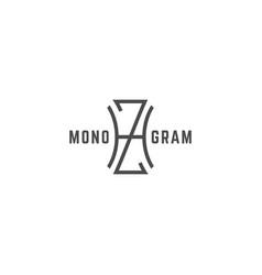 geometric monogram hz vector image