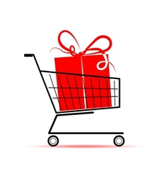 Gift box in shopping cart for your design vector image