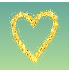 Gold heart on green background vector