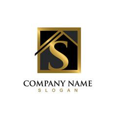 Gold letter s house logo vector