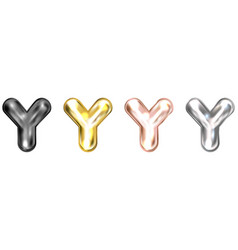 Golden foil balloon inflated alphabet symbol y vector