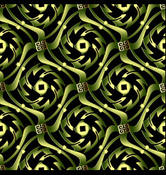Green 3d abstract wave greek seamless pattern vector