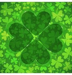 Green clover shape on light clovers background vector image