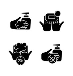 Hand hygiene black glyph icons set on white space vector