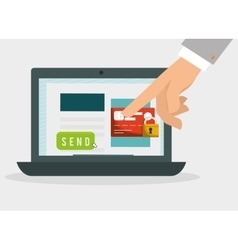 hand with laptop payment padlock safety vector image