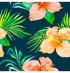 hibiscus tropical plants seamless pattern vector image
