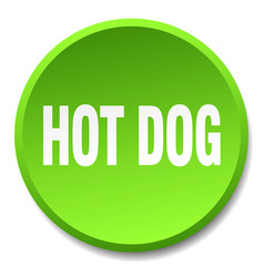 Hot dog green round flat isolated push button vector