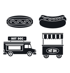 hot dog sausage icon set simple style vector image