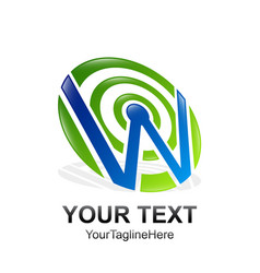 initial letter w logo template colored blue green vector image
