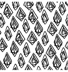 ink hand drawn abstract diamonds seamless pattern vector image