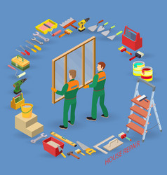 Isometric interior repairs concept workers vector