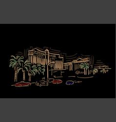 las vegas nevada usa america sketch city line art vector image