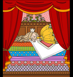 little princess sleeping on a high bed with many vector image