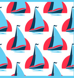 marine seamless pattern with sailing boat on the vector image