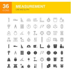 Measurement line web glyph icons vector