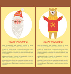 merry christmas banners santa and bear set vector image