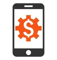 Mobile Bank Setup Flat Icon vector image